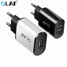 ФОТО olaf 2 ports usb charger 5v 2a portable wall adapter mobile phone micro data charging for samsung xiaomi huawei eu plug chargers