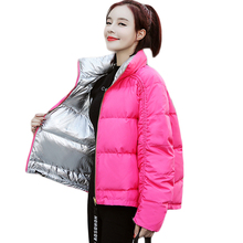 Double-sided Wear Bread Jacket Women 2019 Winter Fashion Short Thicken Cotton-padded Jacket Women Stand Collar Coat Parkas D620
