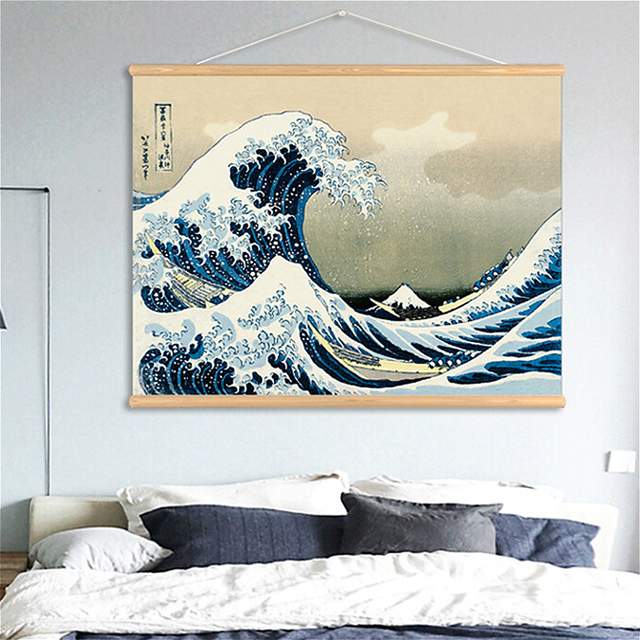 Us 16 9 35 Off Wall Art Picture Print Hanging Canvas Wooden Scroll Painting Japan Great Wave Kanagawa Japanese Poster For Kitchen Wall Decor In