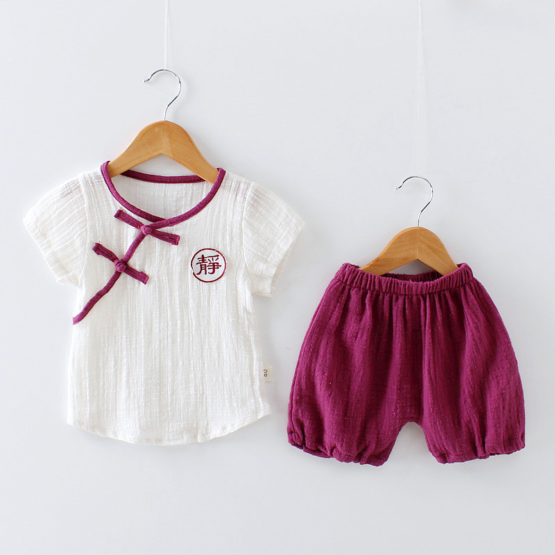 0-3 Yrs Kids Baby Girls Boys Chinese Style Clothing 2PCS Sets Comfortable Childrens Linen Single Breasted T-shirt Tops + Shorts