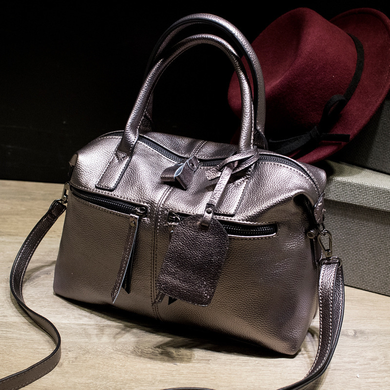 New Arrival Stylish Women Split Leather Bag Handbags Famous Brand Fashion Boston