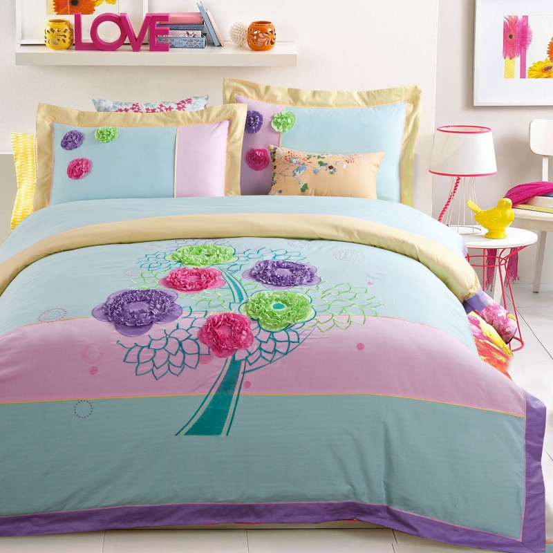 Cotton Fashion Embroidered Applique Wedding Bedding Settwill