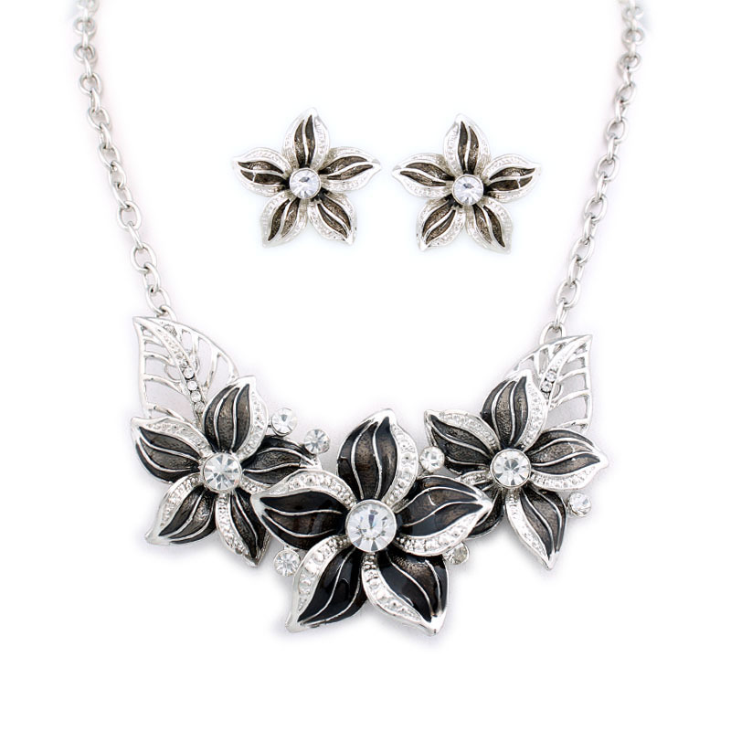 Top Quality Flower necklaces Enamel Choker Necklaces and earrings set Fashion Jewelry set Wholesale A400