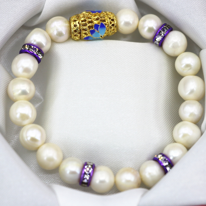 9-10mm natural white freshwater cultured nearround pearl beads bracelet gold plated cloisonne bangle women jewelry 7.5inch B3096