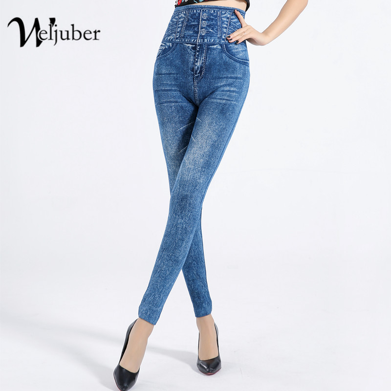 Women High Waist Sexy   Leggings   2018 Autumn Mock Pocket Jeggings High Elastic Elegant Jeans Ladies Denim Skinny Slim legins
