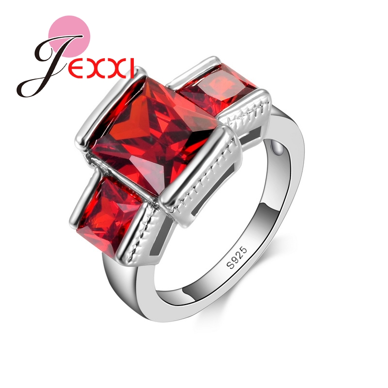 JEXXI Red Crystal Cross Design Women 925 Sterling Silver Finger Rings 2016 Hot Selling Fashion Jewelry Cubic Zirconia Ring