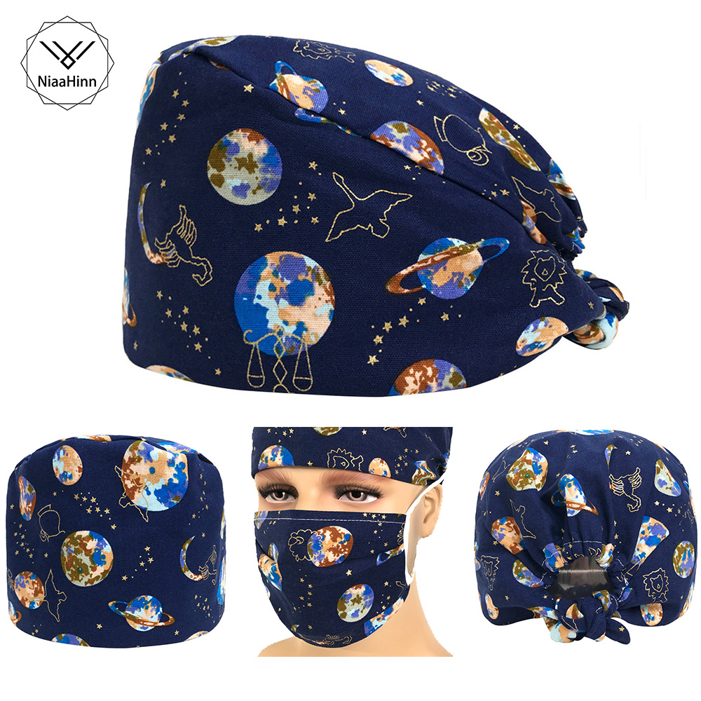 Spacecraft Rocket Surgical Cap Men Scrub Caps Women Nurse Hats Medical Accessory Chef Tieback Caps Veterinary Dentist Work Hat
