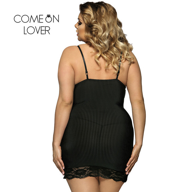 Comeonlover Vertical Stripe Sexy Lingerie Nightwear Underwear Large Size 6XL Plus Size New Porn Women Lingerie Sex RI7391 1