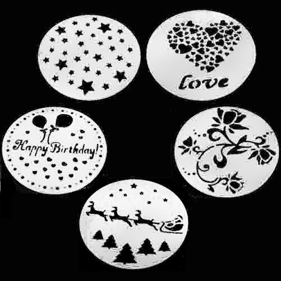 5 st / set DIY Sugar Craft Cake Stencils Fondant Cutter Återanvändbar Mould Decorating Tool Bakningstillbehör