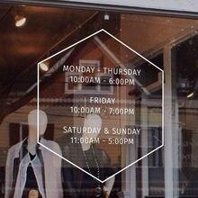 Adesivo de parede personalizado de vinil, adesivo de janela para loja e escritório, horas de trabalho personalizadas