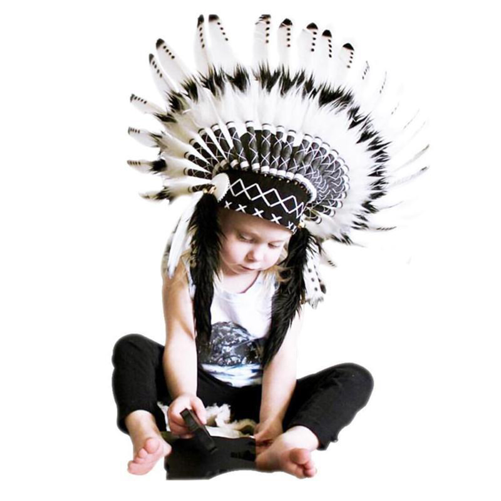 Children Party American Native Indian Feather Headdress Hat Photography Prop Hot
