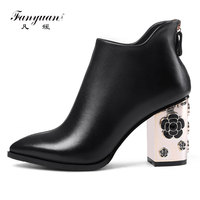 Fanyuan Ankle Boots Sexy Pointed toe Genuine Leather thick high heels Flower decoration winter female Zip Ladies Short Boots