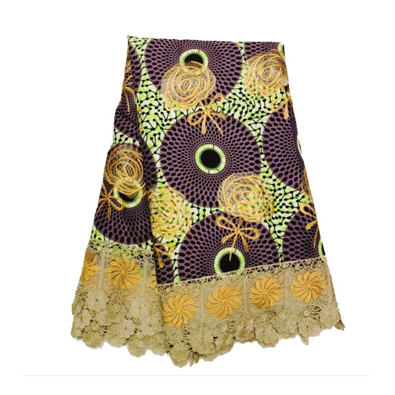 Ankara African Embroidery Dutch Wax With Guipure Lace Fabric for Clothes Holland