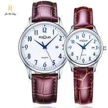 Марка 1 Пара Простой Мода Влюбленных Часы Мужчины и Женщины Кварцевые Наручные Часы Календарь Водонепроницаемый 50 М Кожаный Ремешок