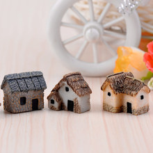 OULII 4PCS Miniature Gardening Landscape Micro Village Stone Houses Thumbnail House Thatched Huts DIY Bonsai Terrarium Crafts(China)