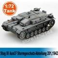 Modelo em escala 1: 72 escala modelo de tanque modelo de tanque estático montado colorido stug iii ausf. f sturmgeschutz-abteilung 201,1942 diy modelo