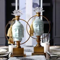 Luxurious Home Decoration Accessories Blue Ceramic Buddha Decoration Figurine Living Room Ornament Objects Office Gift