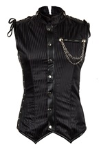 Black Striped Satin Sleeveless Stand Collar Steampunk Jacket Men Vest Waistcoat Corset Gothic Jackets Clothes Plus Size 6XL