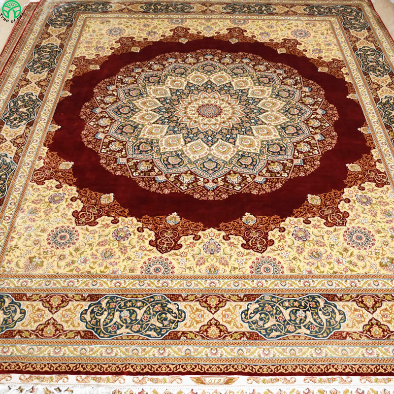 Mingxin 8x10 Feet Red Big Sunflower Persian Rug Exquisite Double Knots Hand  Weave Knotted Silk Carpet