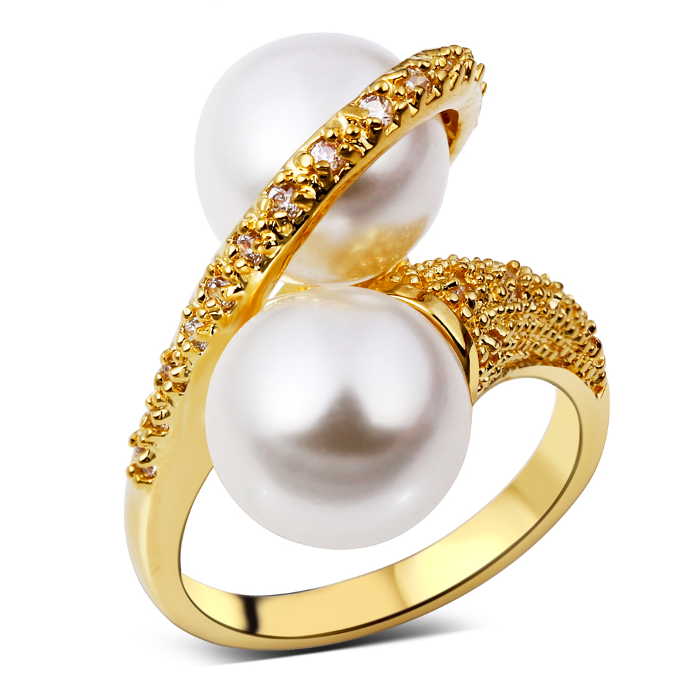 Buy New Style Simple Style Rings For Women Cubic Zircon Imitation Pearl