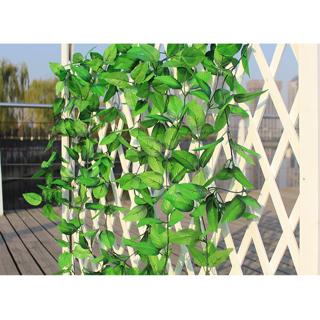 2.4m green artificial silk rose leaves vine rattan hanging cane