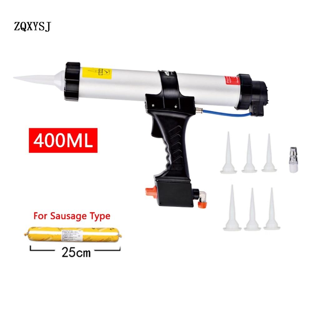 Air Pneumatic Sealant Gun Pistol With Pistons Seal Nozzles Adhesive Sausage Silicone Gun Building Tool 1pc 400ML Caulking Gun