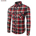 Autumn 2016 Men's Casual Plaid Shirts Long Sleeve Slim Fit Comfort Soft Brushed Flannel Cotton Shirt Leisure Styles Man Clothes