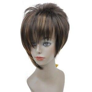 Image 3 - StrongBeauty damskie peruki asymetryczna pochylona grzywka krótka prosta Bob naturalna syntetyczna pełna peruka 4 kolory