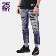 25BOY HE75DENIM Ankle-length Denims Washed Hole Premium Craft Jeans