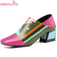 MEMUNIA 2019 top quality genuine leather shoes women pumps mixed colors high heels single shoes fashion dress shoes woman