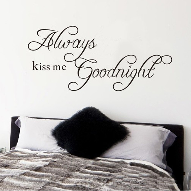 Always Kiss Me Goodnight Vinyl Art Mural Wall Quote Saying Decals Bedroom  Sofa TV Background Home
