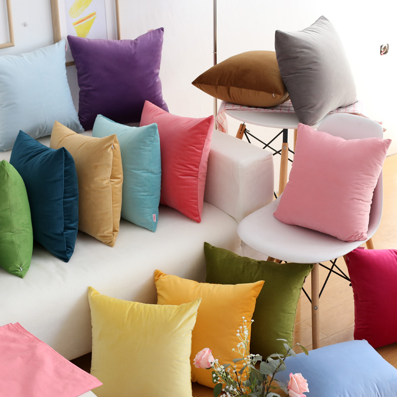 30x45/45x45/<font><b>50x50</b></font>/60x60cm simple modern solid color <font><b>pillowcase</b></font> sofa large velvet cushion cover decorative throw pillow cover image