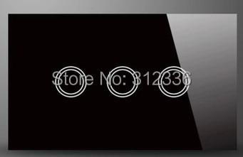 Livraison gratuite 120 MM interrupteur mural verre tactile interrupteur panneau 3 gang 1 voie trois sur simple contrôle trempe verre épaisseur 4mm