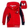 Children Hoodies Sweatshirts kids boys Coat SpiderMan 100% Cotton 2-8 Years Red Long-sleeved hoodies Cardigan Spring Autumn