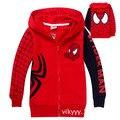 Crianças Hoodies das Camisolas crianças Casaco meninos SpiderMan 100% Algodão 2-8 Anos Vermelho Longo-sleeved hoodies Cardigan Primavera outono