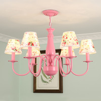 Chandelier Nordic Children Bedroom Chandelier Pink Green Metal Suspension Lamp Nordic Parlor 6 Heads Study Home Lighting G960