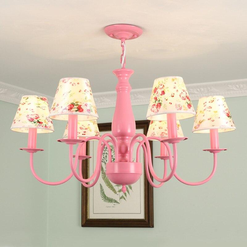 Lustre nordique chambre d'enfants lustre rose vert métal Suspension lampe nordique salon 6 têtes étude maison éclairage G960