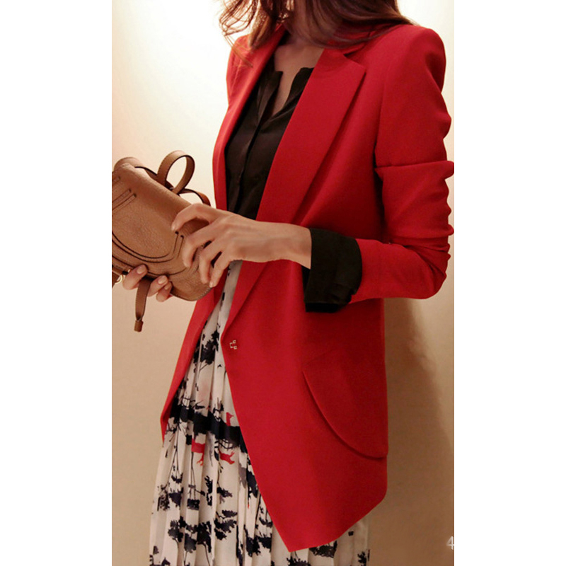 Spring black jacket 19 Korean version of temperament Slim thin long sleeves exquisite plus size fashion suit jacket vestido LR88 in Blazers from Women 39 s Clothing