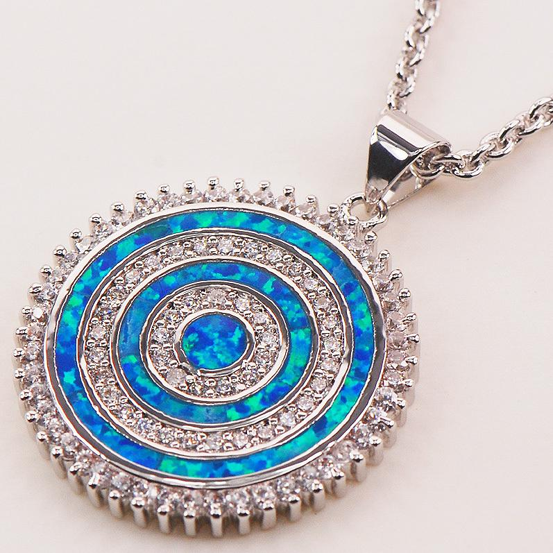 Blue Fire Opal 925 Sterling Silver Fashion Jewelry Pendant P145