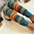 Moda Malha Crochet das Mulheres Coloridas de Inverno Aquecedores De Lã Perna Meia
