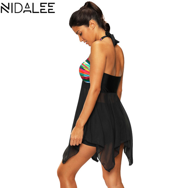Two-Piece Print Push Up Tankini Dress