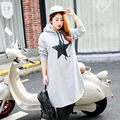 Жир женщин осень дамы платье Корейский новый длинное пальто прямо мода печати платье 287