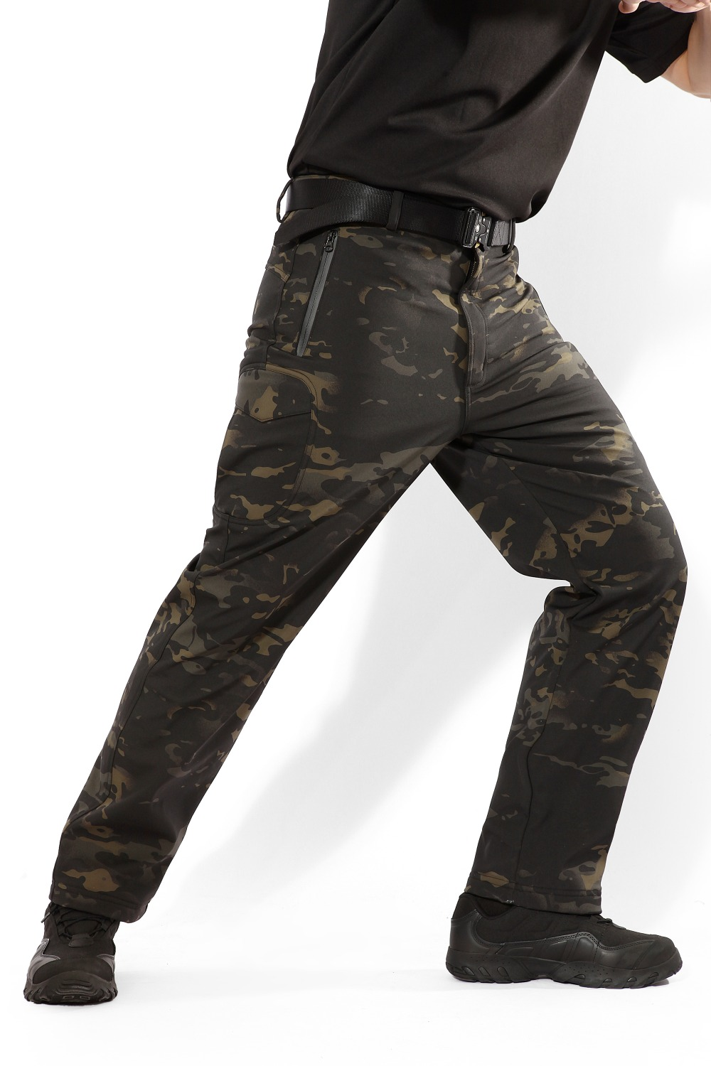 MEGE Soft Shell Tactical Camouflage Pants Men Combat Waterproof Military Cargo Warm Fleece Camo Winter Warm Army Modis Trousers 17