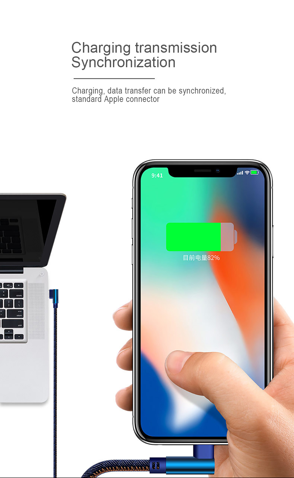NOHON 90 Degree Denim USB Charge Cable For iPhone X XS MAX XR 8 7 6 6S 5 5S Plus Lighting Charging Data Cable For Ipad Mini 1 2M (11)
