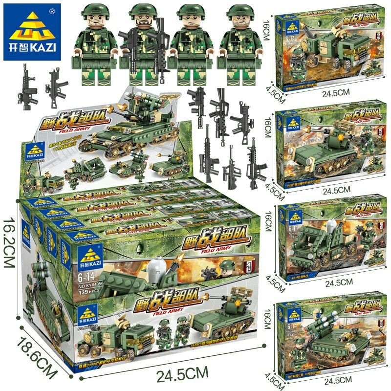 649PCS KAZI 84056 4 In 1 Military Field Army Armored car Tank Heads Playmobil Compatible Legoe Building Blocks Toys for Kids