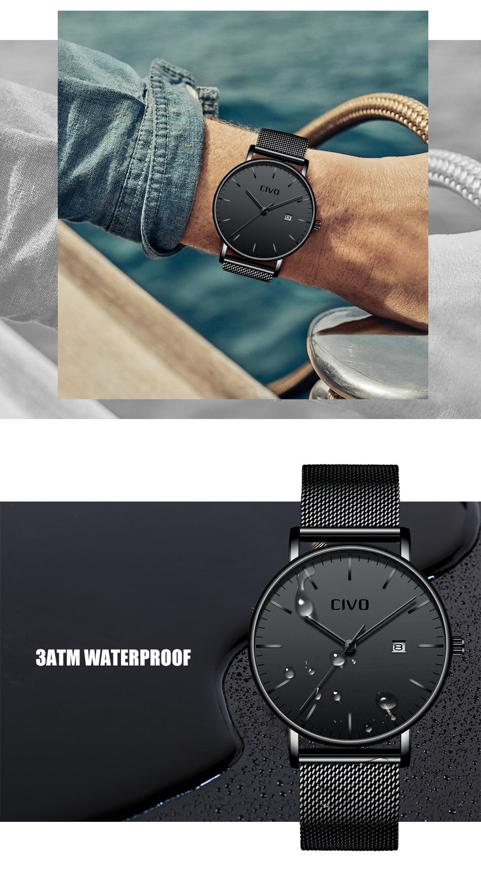 CIVO Men Watch Ultra Thin Minimalist Waterproof Date Wrist Watch For Men Black Genuine Leather Business Fashion Watch Men Clock 8