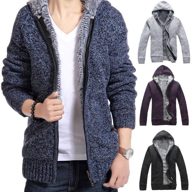 Новая зимняя мужская с капюшоном кардиган свитер плюс толстый ворсинки пальто куртка мужчины мужская мода Тонкий lager размер Свитер пальто мужчины A751