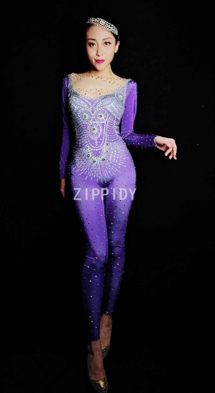 Модные мигающие Стразы спандекс Фиолетовый комбинезон женские вечерние праздничный наряд для певцов в ночном клубе одежда леггинсы