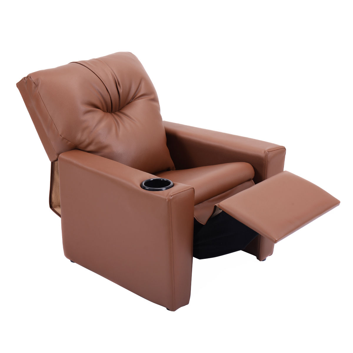 Giantex Kids Sofa Manual Recliner Pu Leather Ergonomic Lounge With Cup Holder Children Gift Modern Children Furniture HW54197BN
