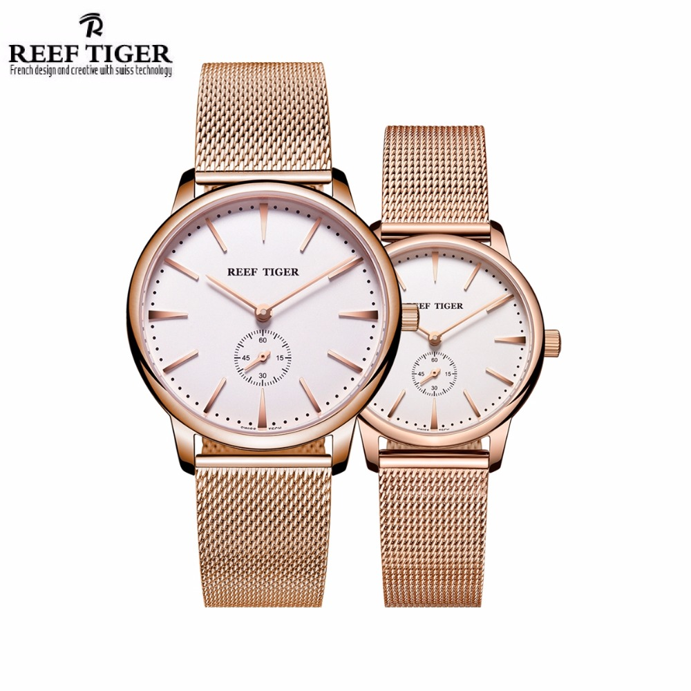 Reef Tiger/RT Luxury Couple Watches for Lovers Men Women Ultra Thin Case Quartz Analog Watch RGA820 keep in touch couple watches for lovers luminous luxury quartz men and women lover watch fashion calendar dress wristwatches